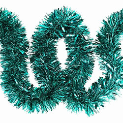 Small Image of 3 x 2m (6m) Turquoise Chunky Cut 10cm Christmas Tree Tinsel