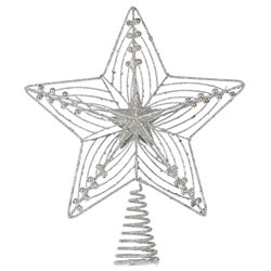 Small Image of Large 30cm Silver Glitter Wire Christmas Tree Topper Decoration