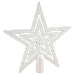 Small Image of 17cm White Glitter Star Christmas Tree Topper Decoration