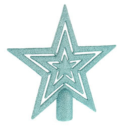 Small Image of 17cm Ice Blue Glitter Star Christmas Tree Topper Decoration