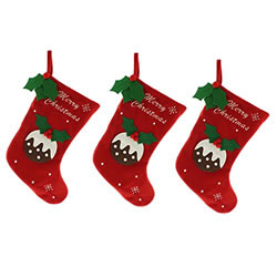 Small Image of 3 x Large 39cm Red Fleece Fabric Christmas Pudding Stocking