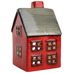 Small Image of Red Ceramic Christmas Tealight Candle Holders - Church or House (House)