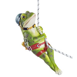 Small Image of Finley the Rock Climbing Hanging Frog Garden Ornament