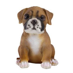 Small Image of Realistic Polyresin 15cm Sitting Boxer Puppy Dog Animal Garden Ornament