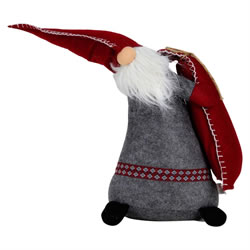 Small Image of 50cm Standing Red & Grey Fabric Christmas Gonk Decoration
