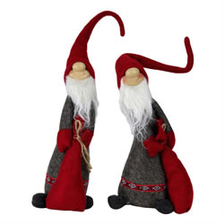 Small Image of Set of 2 Red & Grey Fabric 40cm Skinny Christmas Gonks with Adjustable Hats