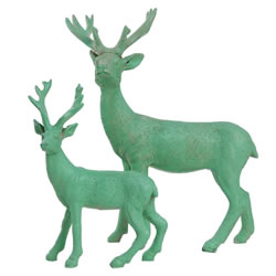Small Image of 15cm Mint Green Polyresin Standing Stag Christmas Ornament