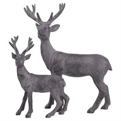 Small Image of 21cm Lilac Purple Polyresin Standing Stag Christmas Ornament