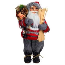 Small Image of Large 46cm Free-standing Traditional Father Christmas St. Nicholas Plush Statue Decoration