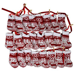 Small Image of Christmas Advent Calendar Red & White Fabric Sock 220cm Washing Line