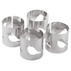 Small Image of Set of 4 Contemporary Silver Metal Bird Cut-out Napkin Rings