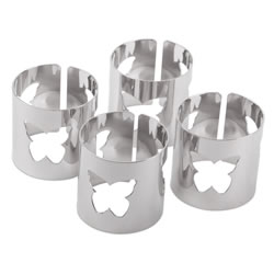 Small Image of Set of 4 Contemporary Silver Metal Butterfly Cut-out Napkin Rings