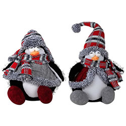 Small Image of Large 40cm Sitting Plush Penguin Christmas Ornament or Doorstop - Set of 2