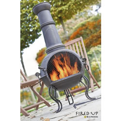 Small Image of 107cm Bronze Steel Chimenea Chiminea with BBQ Grill