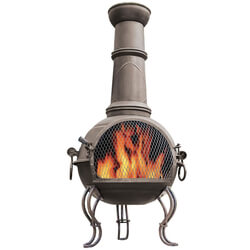 Small Image of La Hacienda 107cm Large Murcia Steel Chiminea with Grill - Bronze