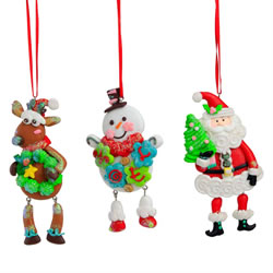 Small Image of Set of 3 Dangly Leg Claydough Christmas Character Tree Decorations - Santa, Rudolph & Snowman
