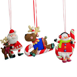 Small Image of Santa, Rudolph & Snowman Claydough Christmas Character Tree Decorations / Ornaments