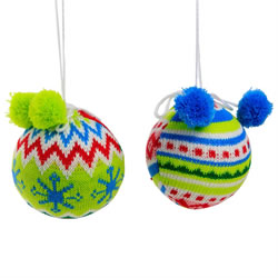 Small Image of Set of 2 Bright Knitted Fabric 8cm Hanging Christmas Tree Baubles