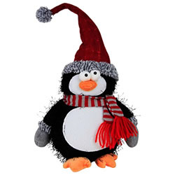 Small Image of 25cm Sitting Plush Penguin Christmas Ornament - Red Hat