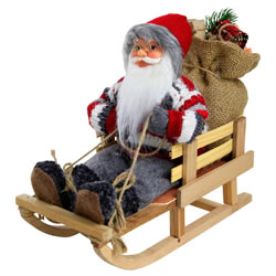 Small Image of 26cm Traditional Father Christmas St. Nicholas in Sled Plush Decoration