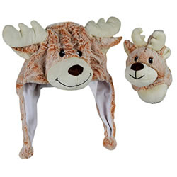 Small Image of Cosy Christmas Reindeer Plush Winter Hat & Ear Muffs