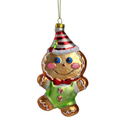 Small Image of Glass Gingerbread Man Christmas Tree Bauble Decoration