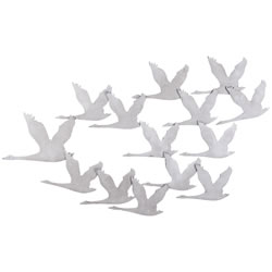 Small Image of Large Grey Stone Look Metal Flying Geese Birds Statement Wall Art