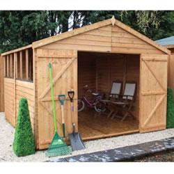 Small Image of 10 x 10 Overlap Double Door Apex Wooden Garden Shed