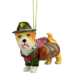 Small Image of Bulldog Scout - Novelty Dog Christmas Tree Ornament