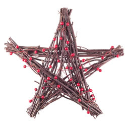 Small Image of 30cm Star Shaped Christmas Twig Wreath with Red Berries