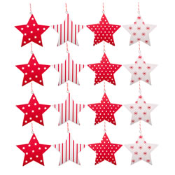 Small Image of Set of 16 Red & White Hanging Wooden Star Christmas Tree Decorations
