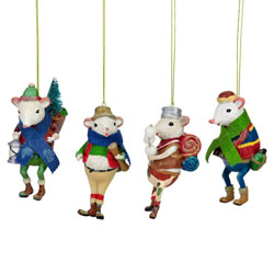 Small Image of Set of 4 White Mice Campers Christmas Tree Ornament Decorations