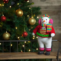 Small Image of 33cm Free-standing Fabric Christmas Snowman Decoration