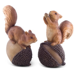 Small Image of Acorn & Conker the Nut-Loving Red Squirrel Garden Ornament Pair