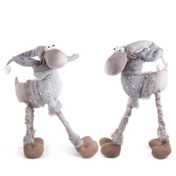 Small Image of Arthur & Aaron the Large 4 Legged Standing Grey Fabric Christmas Reindeer