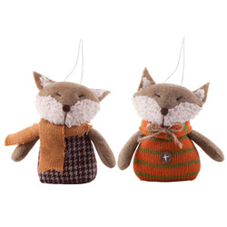 Small Image of Pair Of Hanging Fabric Fox Christmas Tree Decorations