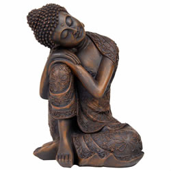 Small Image of 24cm Bronze Effect Polyresin Sitting Buddha Statue Ornament