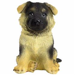 Small Image of Realistic 17cm Sitting German Shepherd Puppy Dog Garden Ornament