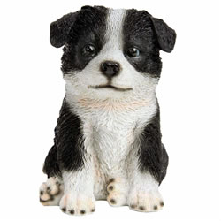 Small Image of Realistic 17cm Sitting Border Collie Puppy Dog Garden Ornament