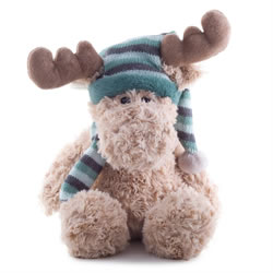 Small Image of 30cm Cuddly Plush Christmas Reindeer Toy in Blue Bobble Hat