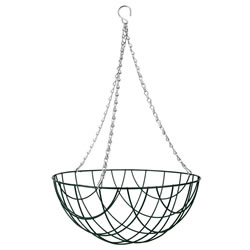 Small Image of 1 x Traditional 14-inch Green Metal Hanging Basket