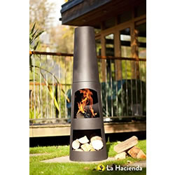 Small Image of La Hacienda Circo 125cm Black Steel Chimenea Chiminea Patio Heater