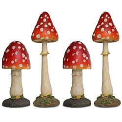 Small Image of Set of 4 Large Red Polyresin Pointed Mushroom Toadstool Garden Ornaments