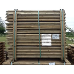 Small Image of 10 x 1.65m (5.5ft) x 40mm diam. round wooden fence posts stakes pressure treated