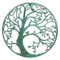 Small Image of Large 58cm Verdigris Metal Tree Circle Wall Art Sculpture for Garden or Home