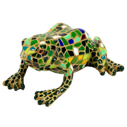 Small Image of Green Mosaic Frog Polyresin Garden Animal Ornament