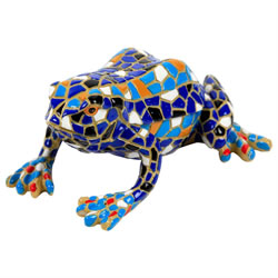 Small Image of Blue Mosaic Frog Polyresin Garden Animal Ornament