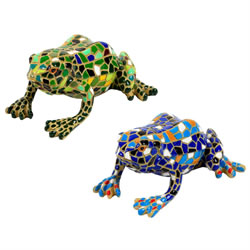Small Image of Set of 2 Blue & Green Mosaic Frog Polyresin Garden or Home Ornaments