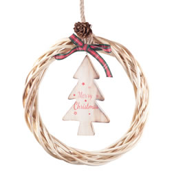 Small Image of Hanging Rustic Wood & Wicker 21cm Wreath with 'Merry Christmas' Tree