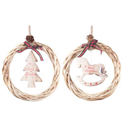 Small Image of Hanging Rustic Wood & Wicker 21cm Wreath Set with 'Merry Christmas' Tree & Rocking Horse